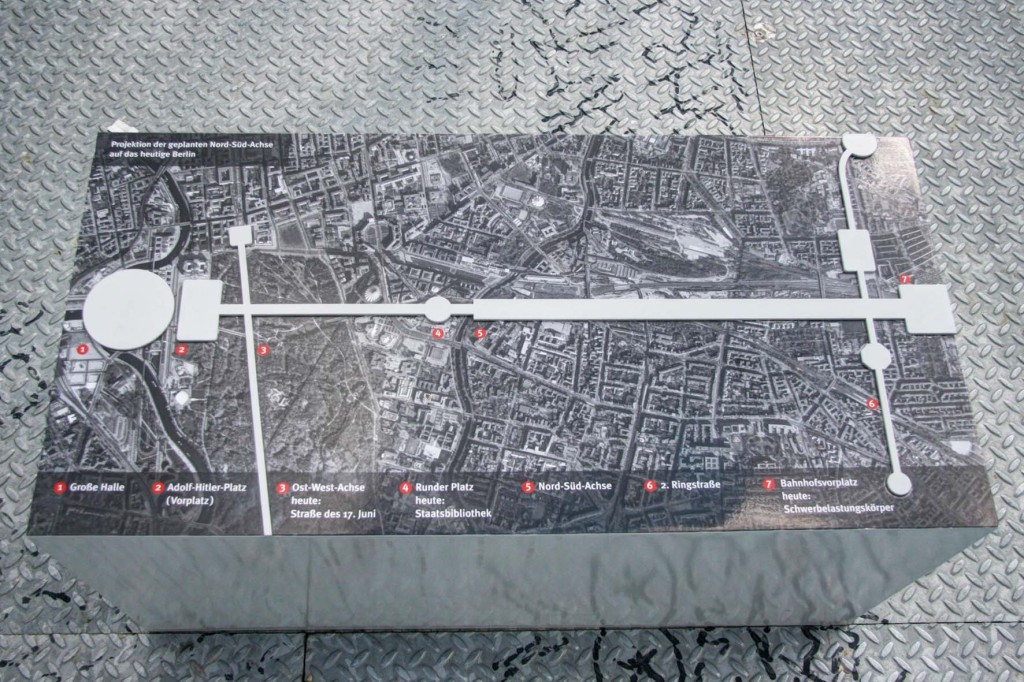A Map of the North-South Axis of Hitler's Plans For Germania at the Schwerbelastungskörper in Berlin