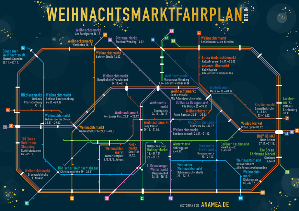 Weihnachtsmarktfahrplan Berlin - a map of Christmas Markets from An Amazing Earth