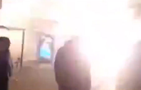 A Rocket Misfires on The Streets of Berlin on New Year's Eve (Silvester)