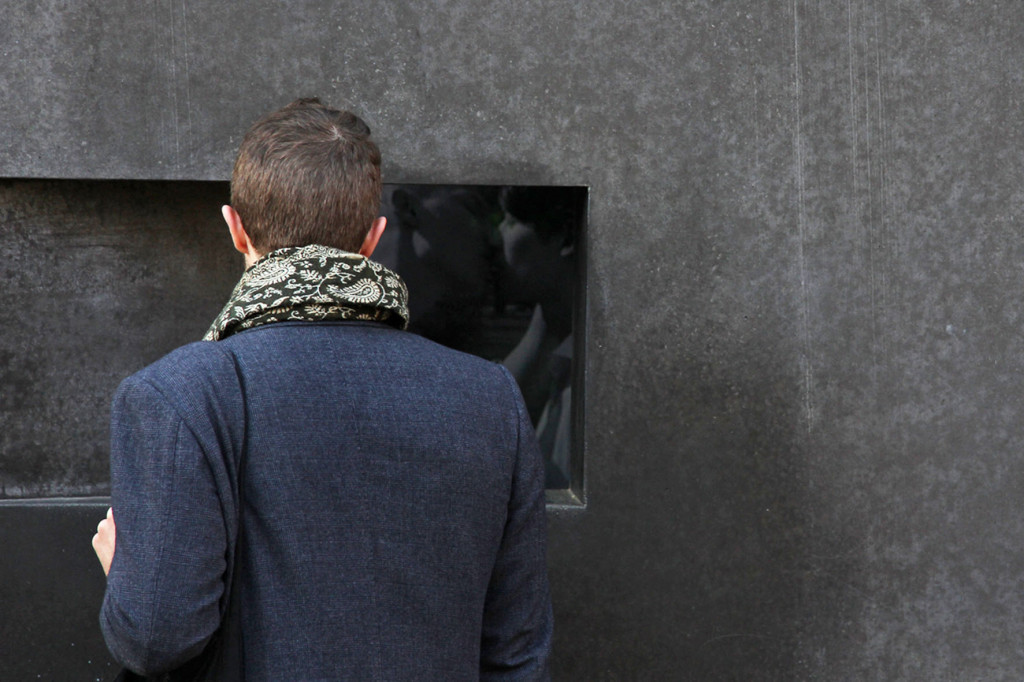 A Visitor Watches the Video Installation at the Memorial to the Homosexuals Persecuted Under the National Socialist Regime in Berlin