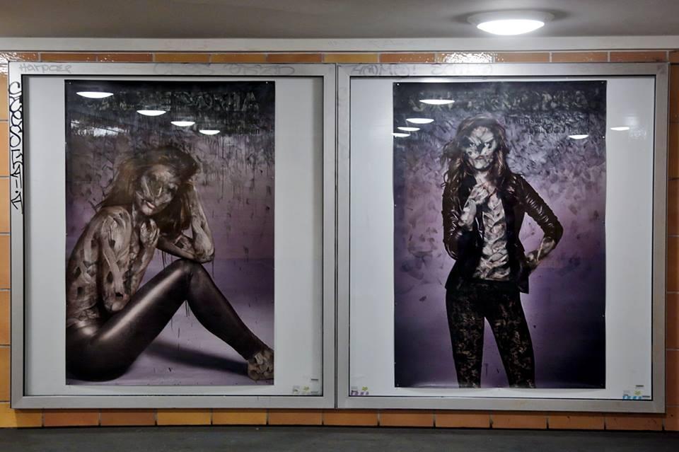 Vermibus Berlin Fashion Week Intervention at U-Bahnhof Rosenthaler Platz