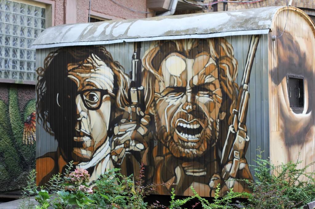 Woody Allen and Clint Eastwood - Street Art by Lake in Berlin