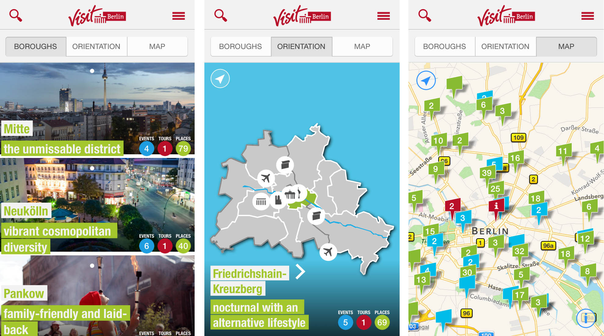 Going Local Berlin - Screenshots from the app from visitBerlin