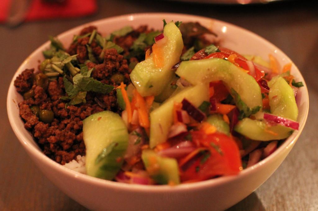 Keema Mattar Rice Bowl at Chutnify Berlin