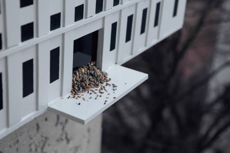 Birdhain - A birdhouse in the style of Berlin's most famous club, Berghain by Malte Jensen