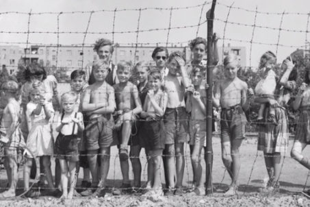 Children at the fence at Tempelhof Airport Berlin during the Berlin Blockade of 1948 and 1949