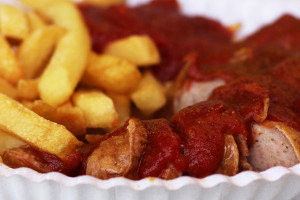 Close Up Currywurst at Schmidts Imbiss Berlin