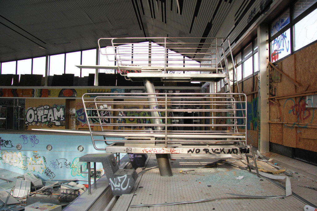 Diving Board at Franzosenbad Berlin - an abandoned swimming pool