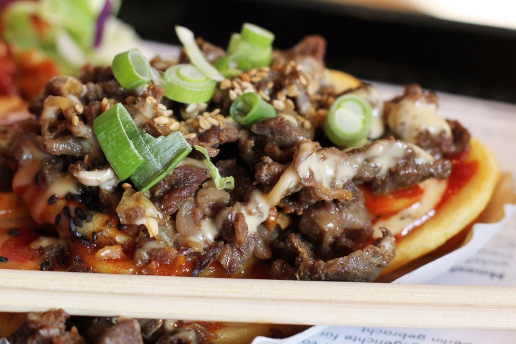 Close Up of Bulgogi BBQ Potatoes at Mmaah Korean BBQ Berlin