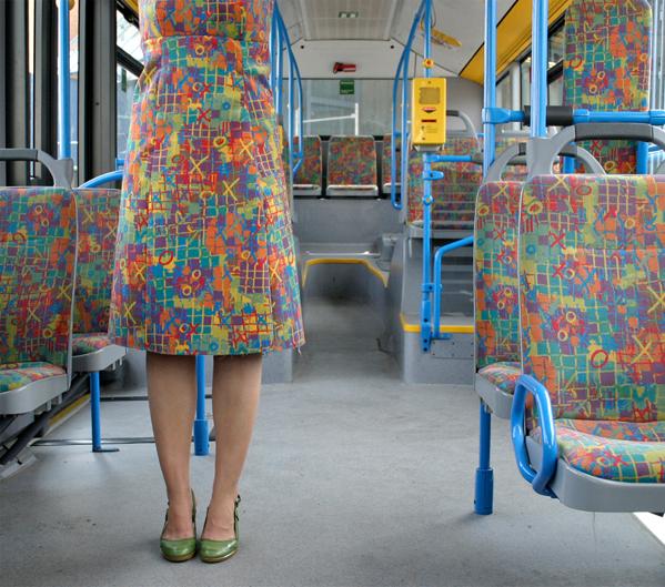 Menja Stevenson Bus Seat Pattern Dress