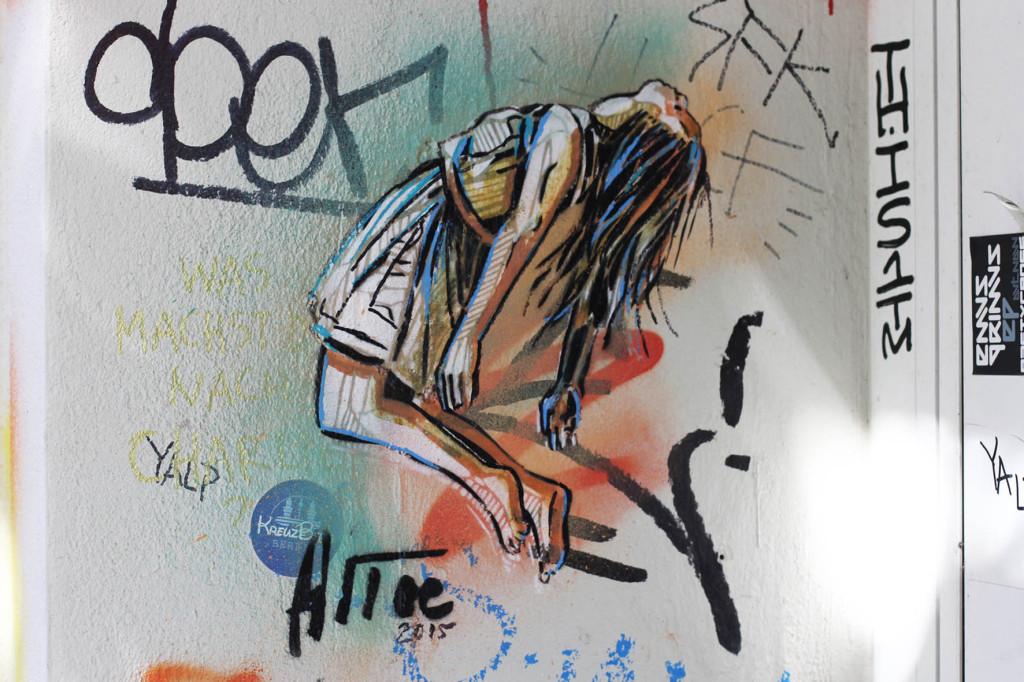 Bending Over Backwards - Street Art by Alice Pasquini in Berlin