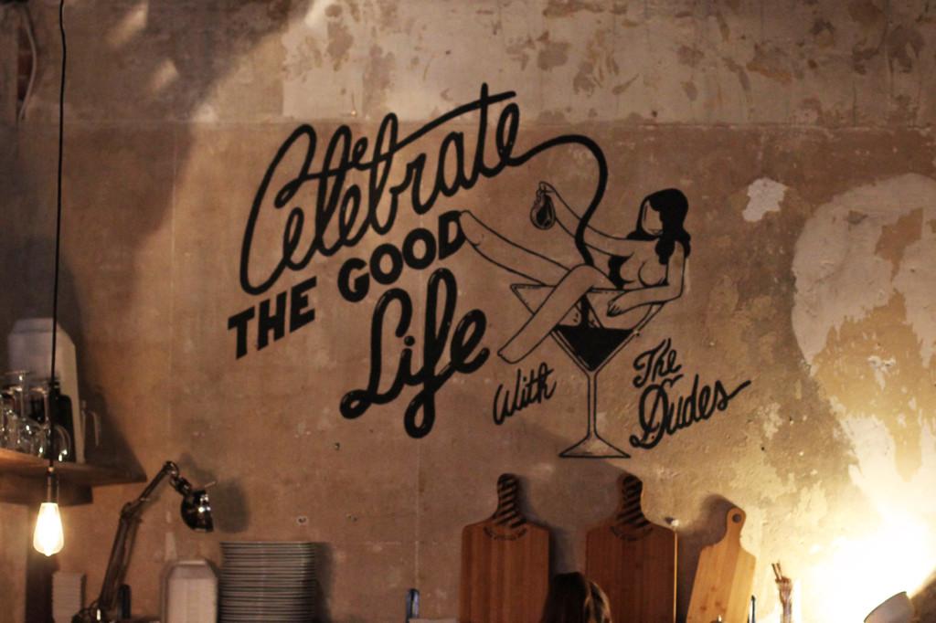 Celebrate the Good Life Mural at Dudes Delikatessen Berlin