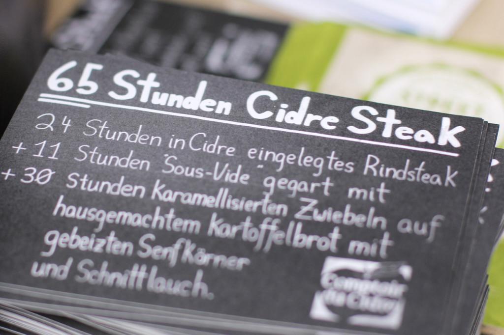 Cider Steak Description at Comtoir du Cidre at Street Food auf Achse Berlin