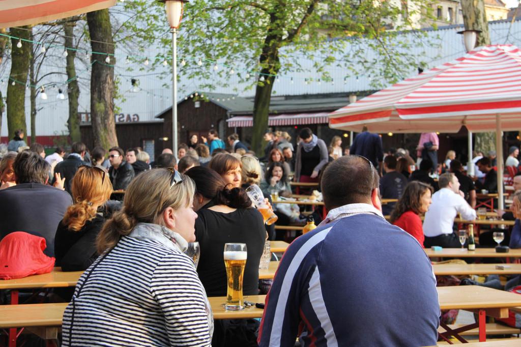 Crowd at PraterGarten Beer Garden in Berlin