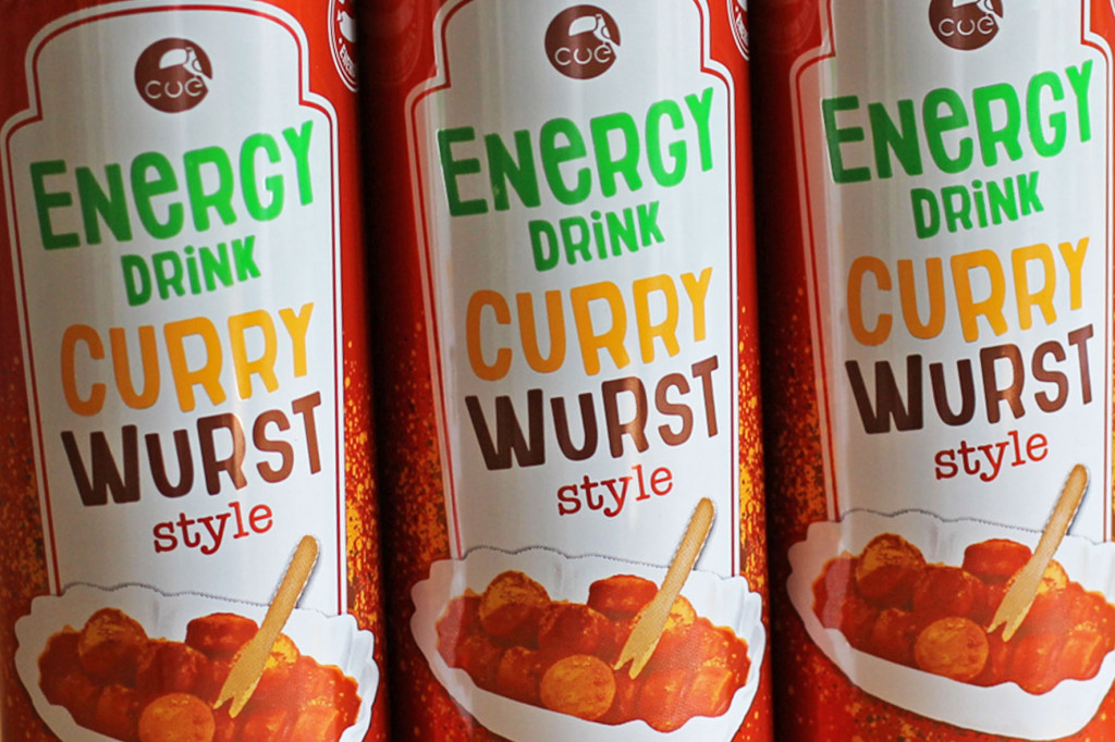 Currywurst Energy Drink Cans Close Up