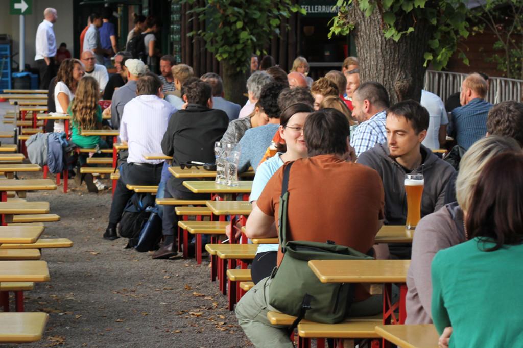 Drinkers at PraterGarten Beer Garden Berlin