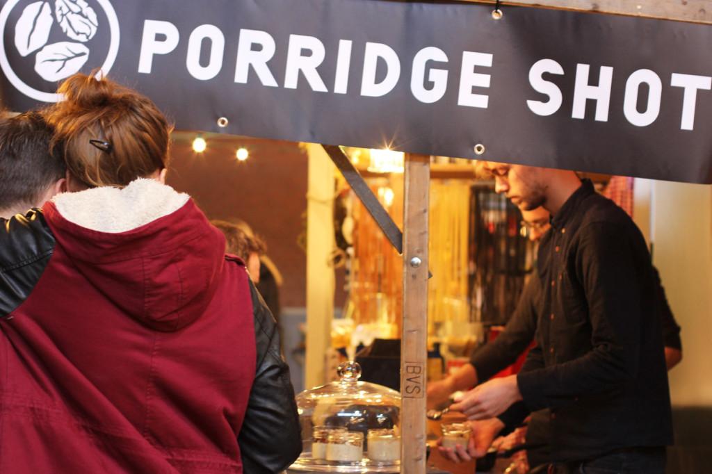 Porridge Shot Stall at Breakfast Market at Markthalle Neun in Berlin
