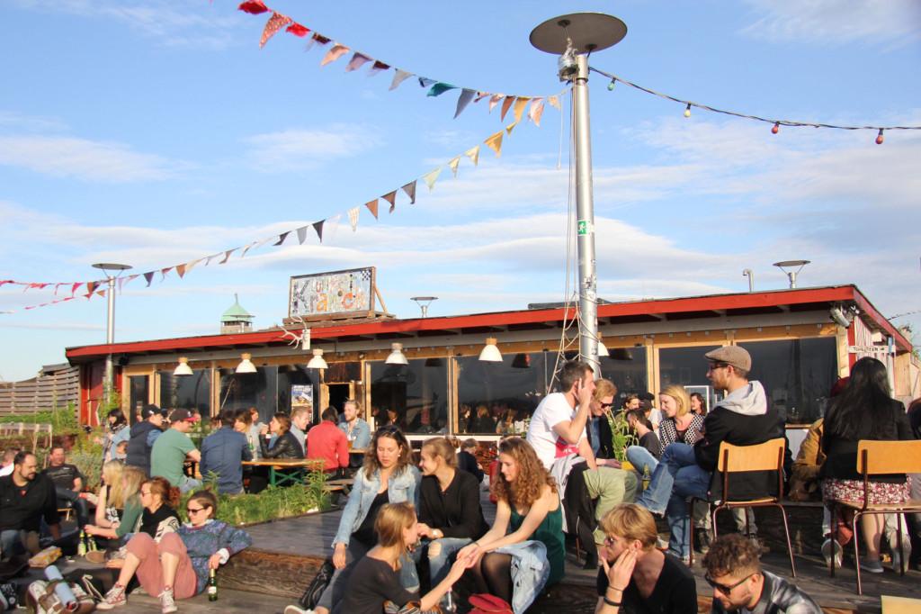 The Bar at Klunkerkranich Berlin, a bar on the rooftop of the Neukölln Arcaden Shopping Centre
