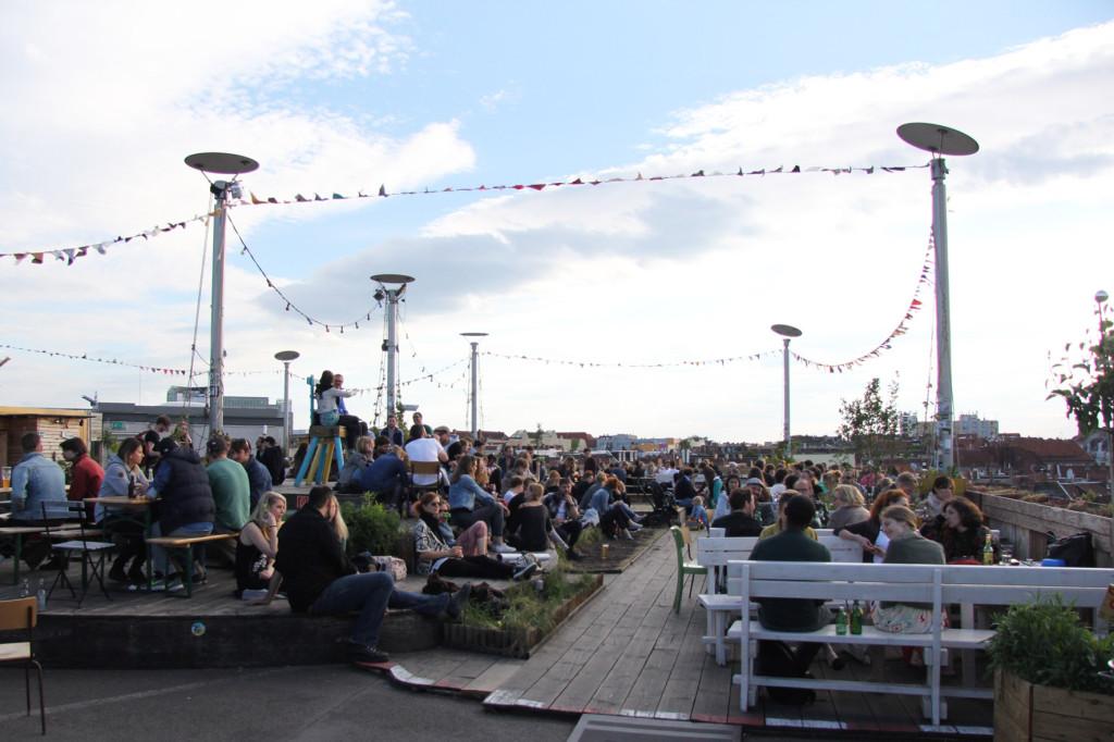 The Rooftop Terrace at Klunkerkranich Berlin, a bar on the rooftop of the Neukölln Arcaden Shopping Centre