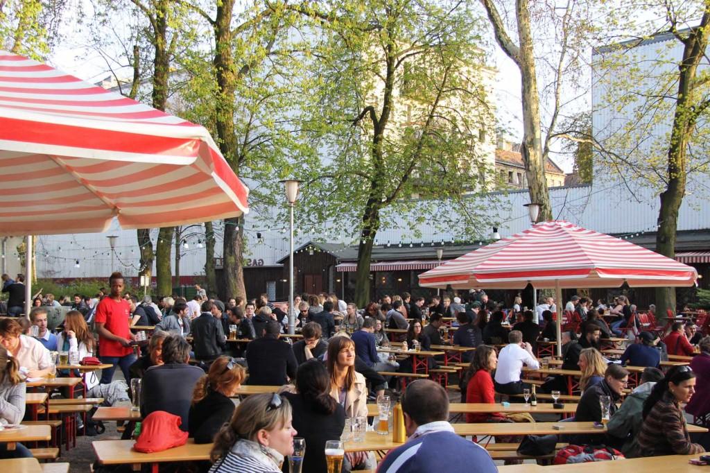 The crowd at PraterGarten Beer Garden in Berlin
