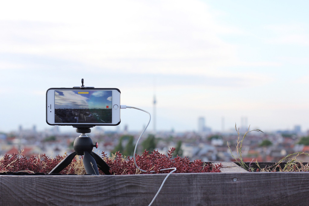 Timelapse Video in Progress at Klunkerkranich Berlin, a bar on the rooftop of the Neukölln Arcaden Shopping Centre