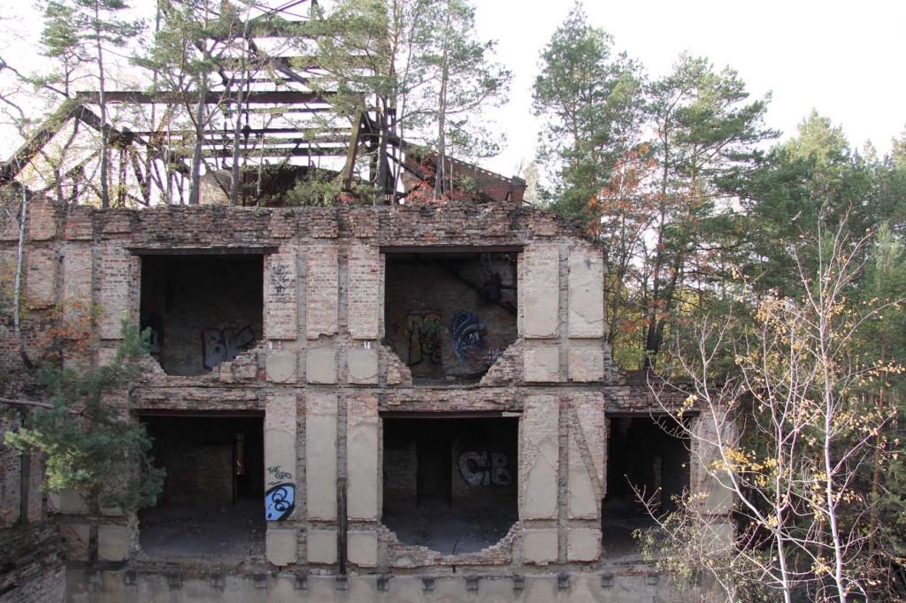 The Alpenhaus Ruins seen from the treetop walkway of the Baumkronenpfad Beelitz-Heilstätten near Berlin