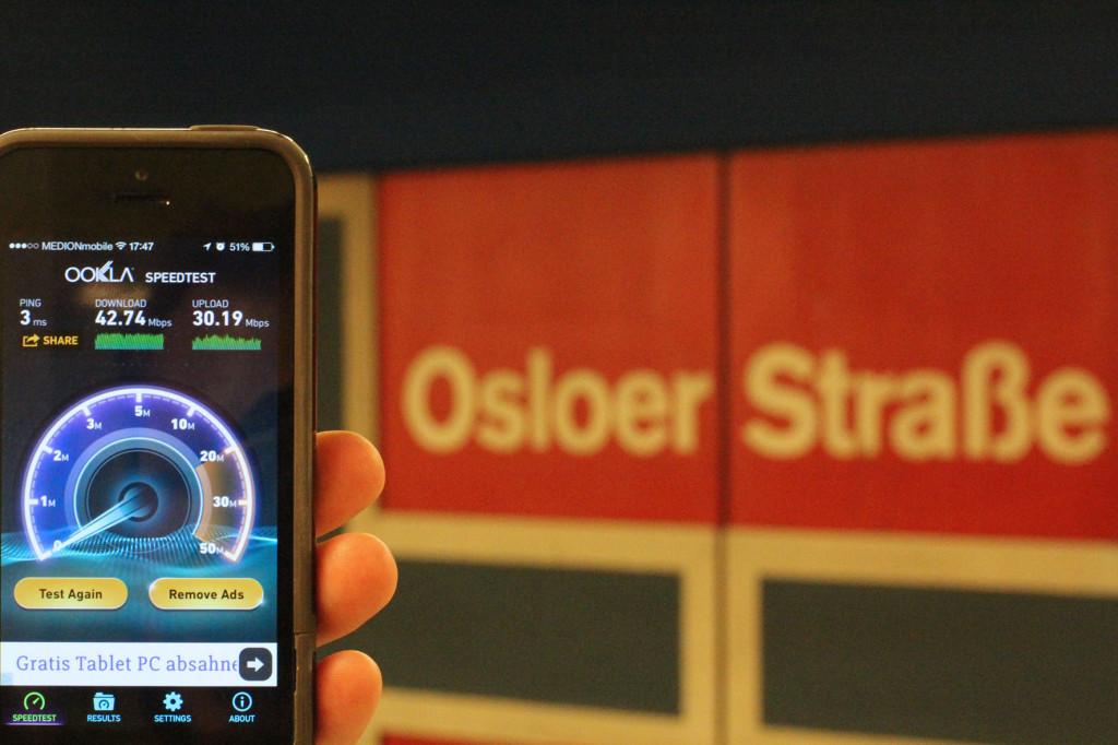 BVG Free Wi-Fi Trial Result at U-Bhf Osloer Strasse Berlin