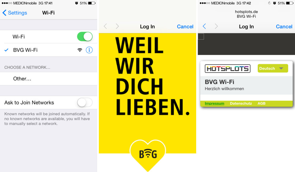 BVG Free Wi-Fi Trial at U-Bahf Osloer Strasse Berlin Login Screenshots