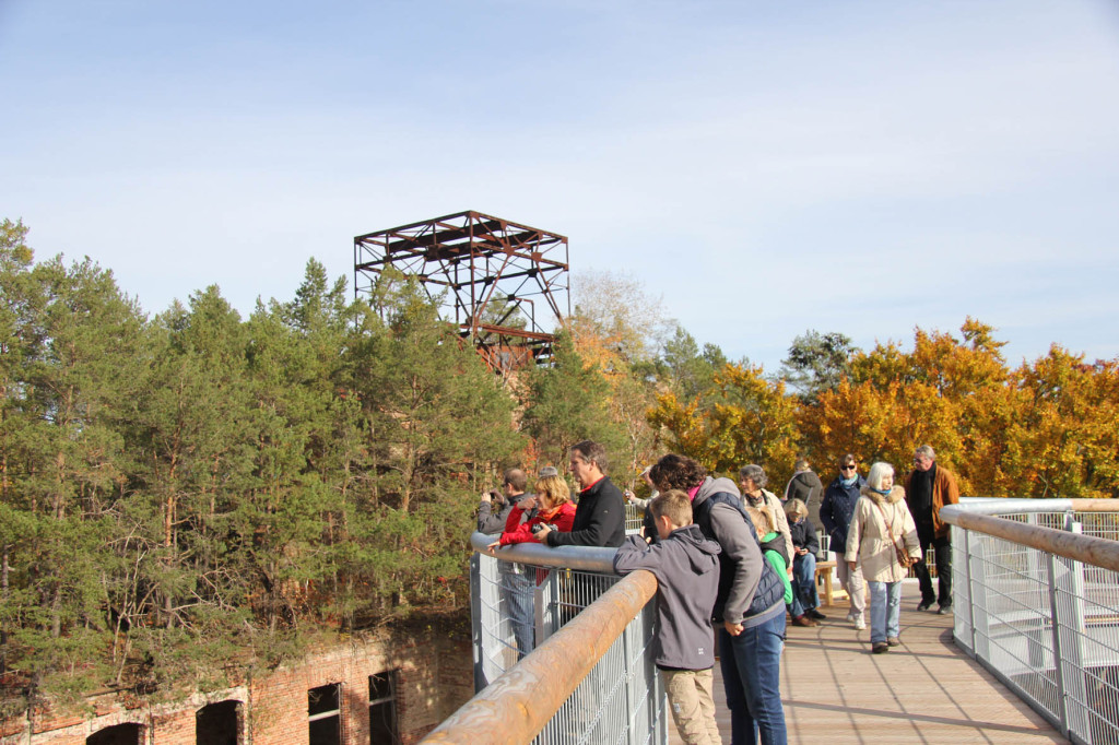 The Alpenhaus Ruins and treetop walkway of the Baumkronenpfad Beelitz-Heilstätten near Berlin