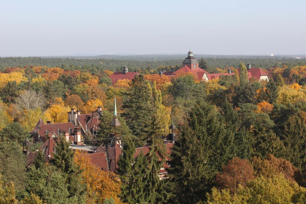 The Neurological Rehabilitation Clinic (Neurologische Rehabilitationsklink) and Kitchen (Kochküche) seen from the treetop walkway of Baumkronenpfad Beelitz-Heilstätten near Berlin