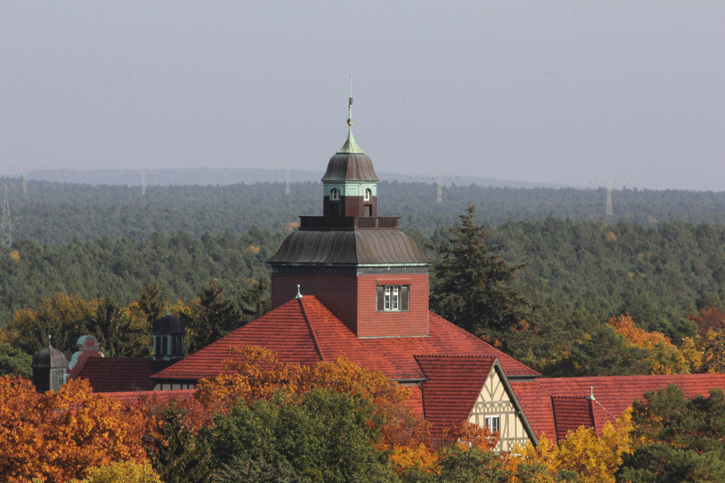 The Neurological Rehabilitation Clinic (Neurologische Rehabilitationsklink) seen from the treetop walkway of Baumkronenpfad Beelitz-Heilstätten near Berlin