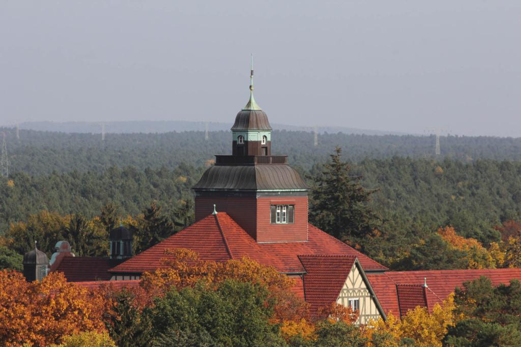 The Neurological Rehabilitation Clinic (Neurologische Rehabilitationsklink) seen from the treetop walkway of Baumkronenpfad Beelitz-Heilstätten near Berlin