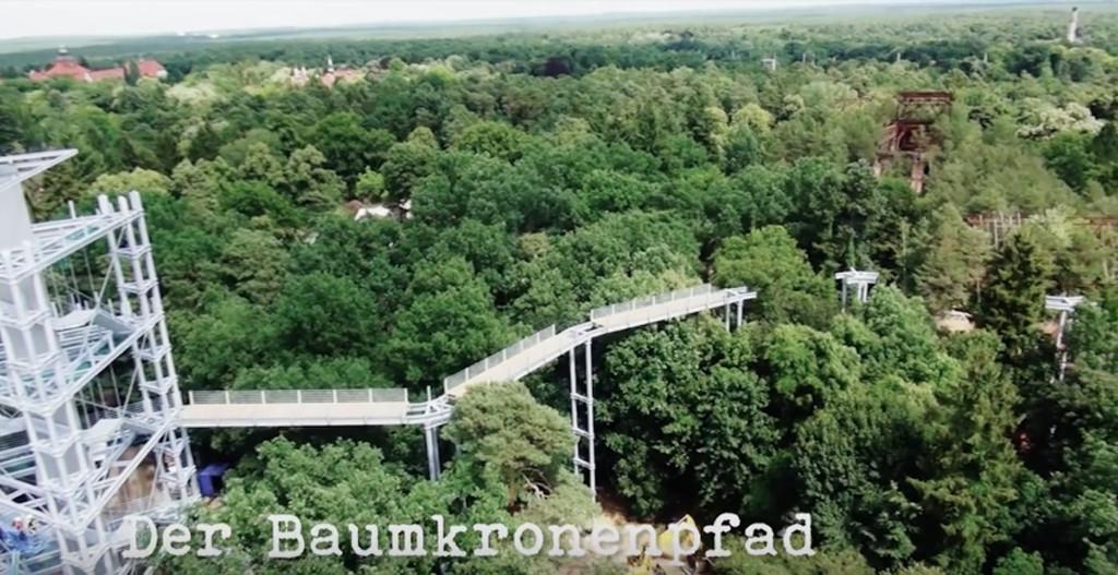 Screenshot from Making of Baumkronenpfad Beelitz-Heilstätten by Thomas Kaser showing the treetop walkway at the abandoned lung clinic and sanatorium under construction