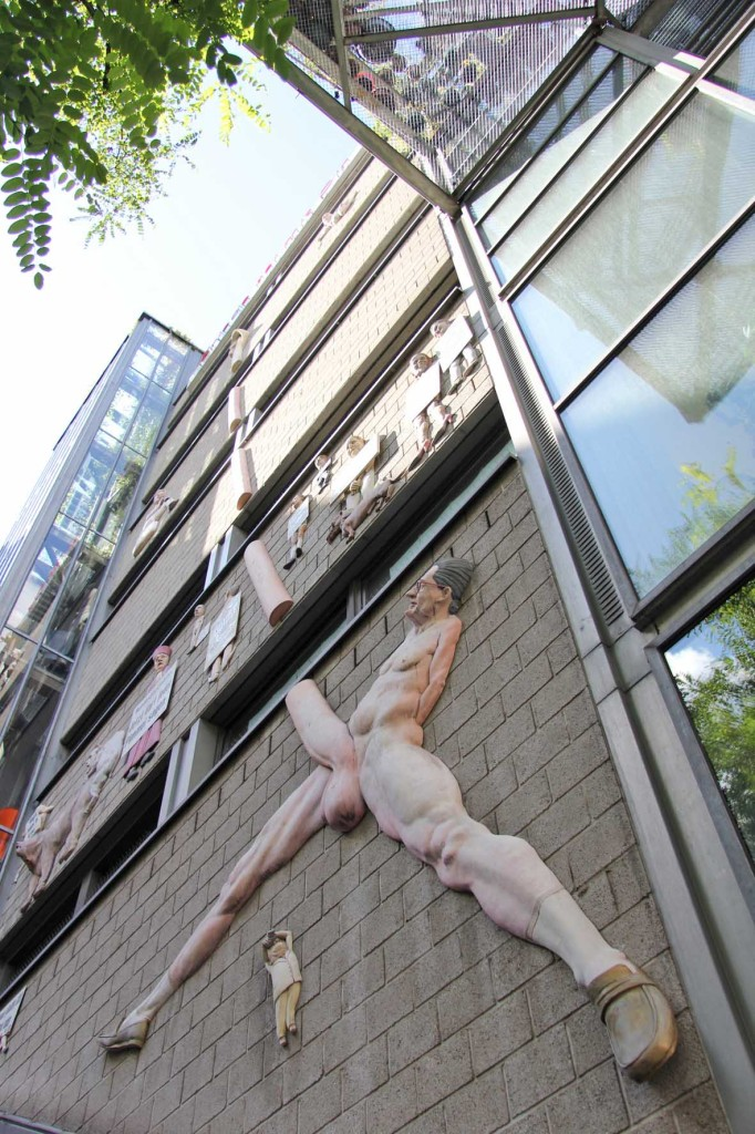 The 5-storey Giant Penis Relief (a Kai Diekmann caricature) - Friede sei mit Dir (Peace Be With You) or Der Pimmel über Berlin (The Cock Over Berlin) by Peter Lenk on the offices of Die Tageszeitung (taz) on Rudi-Dutschke-Strasse in Berlin
