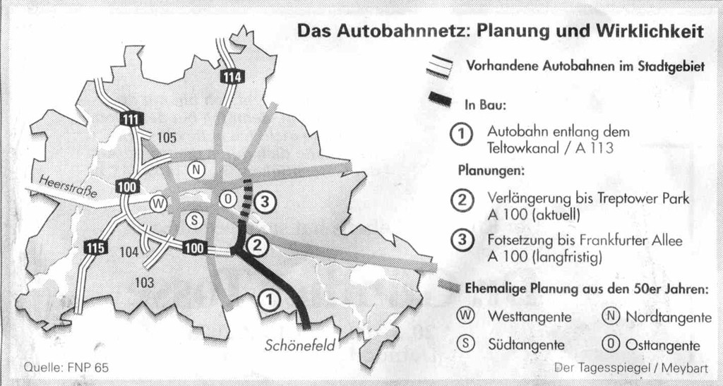 Autobahn Plan for Berlin from Flächennutzungsplan 65 for West Berlin, including the planned route of the Westtangente, abandoned motorway extension