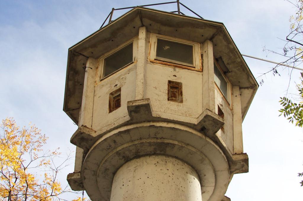 The observation deck of the BT-6 Berlin Wall Watchtower on Erna-Berger-Strasse near Potsdamer Platz