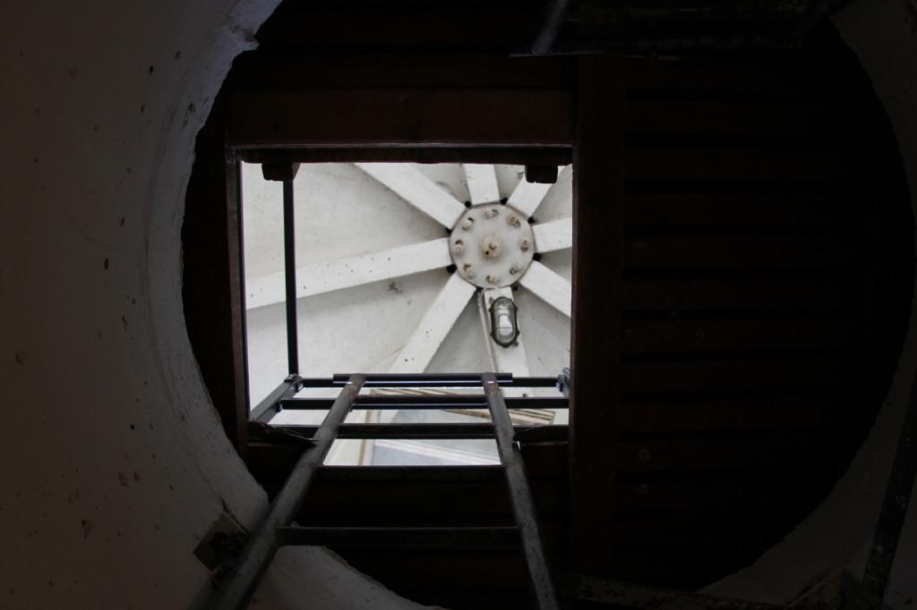 Looking up the round shaft of the BT-6 Berlin Wall Watchtower on Erna-Berger-Strasse near Potsdamer Platz