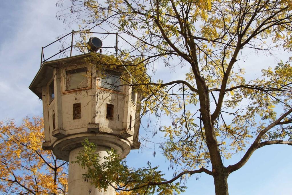 The BT-6 Berlin Wall Watchtower and trees on Erna-Berger-Strasse near Potsdamer Platz