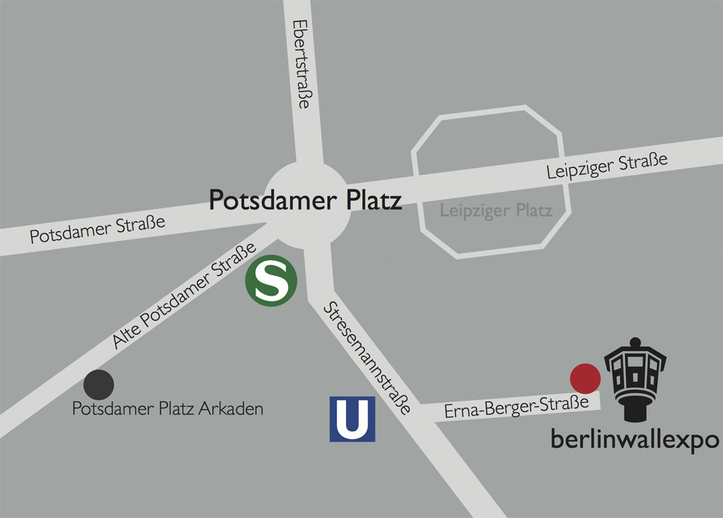 The location map for the BT-6 Berlin Wall Watchtower on Erna-Berger-Strasse near Potsdamer Platz