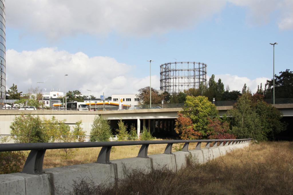 The Schöneberg Gasometer and Sachsendamm from the Abandoned Motorway Extension - Westtangente in Berlin