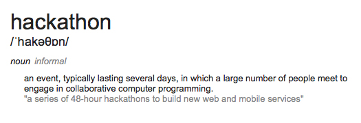 Google Dictionary Definition of Hackathon