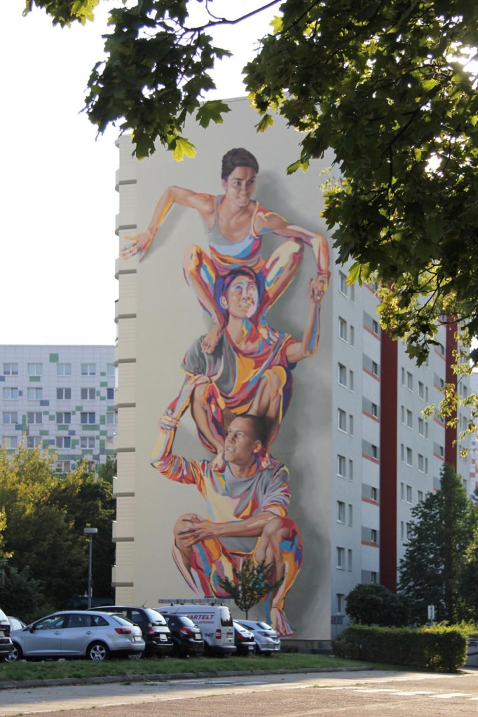 The JBAK Totem Mural on the side of the HOWOGE building at Landsberger Allee 228B in Lichtenberg in Berlin