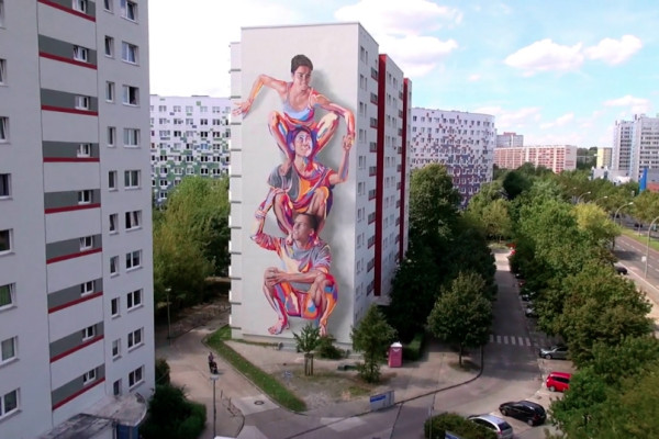 JBAK Totem Mural in Berlin Lichtenberg (still from the JBAK Totem video by Editude Pictures)
