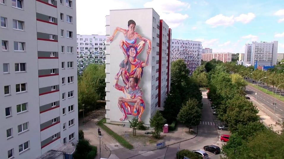 JBAK Totem Mural in Berlin Lichtenberg (still from the JBAK Totem video by Editude Pictures)