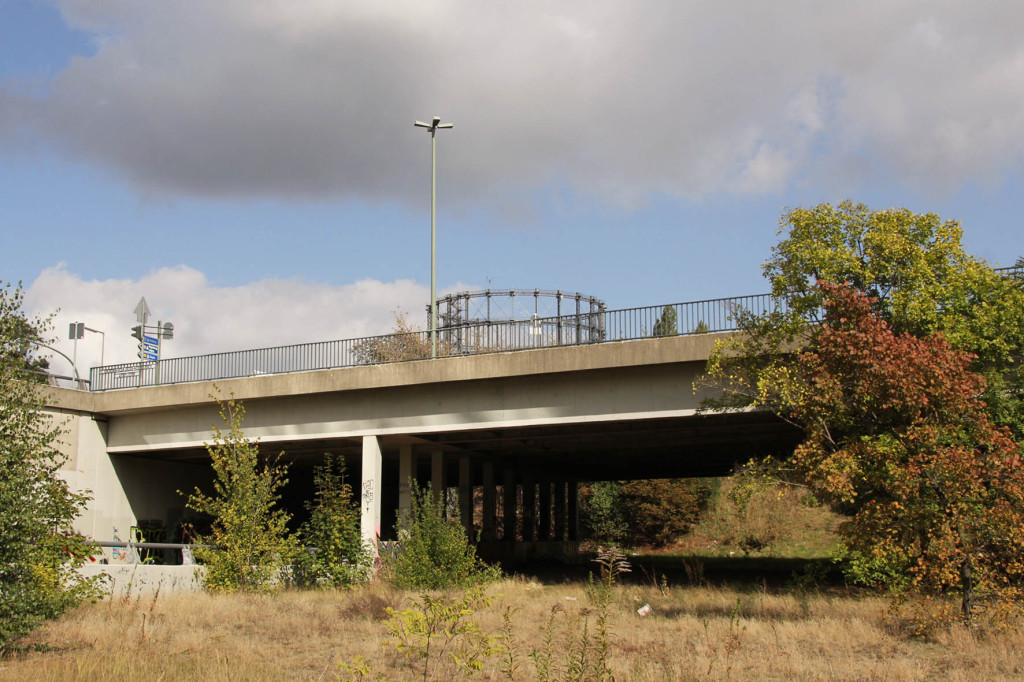 Looking under the bridge formed by Sacshendamm passing over the Abandoned Motorway Extension - Westtangente in Berlin