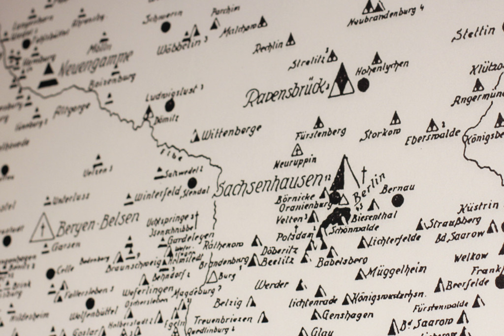 Map drawn by inmates at the Buchenwald concentration camp to document concentration camps in Germany - exhibit at the German Resistance Memorial Centre (Gedenkstätte Deutscher Widerstand) in the Bendlerblock in Berlin