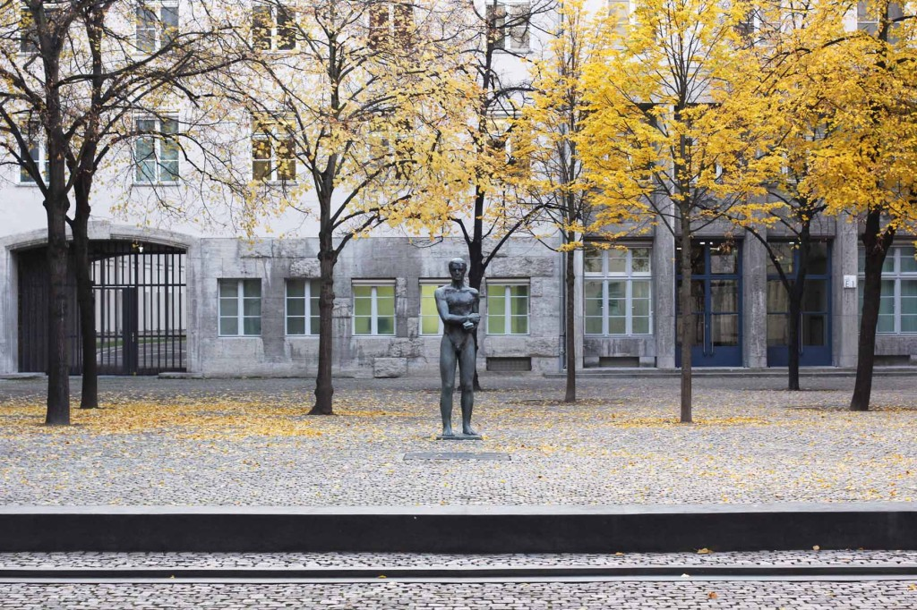 A statue of a naked man with bound hands, a memorial by Professor Richard Scheibe in the Courtyard of the German Resistance Memorial Centre (Gedenkstätte Deutscher Widerstand) in the Bendlerblock in Berlin