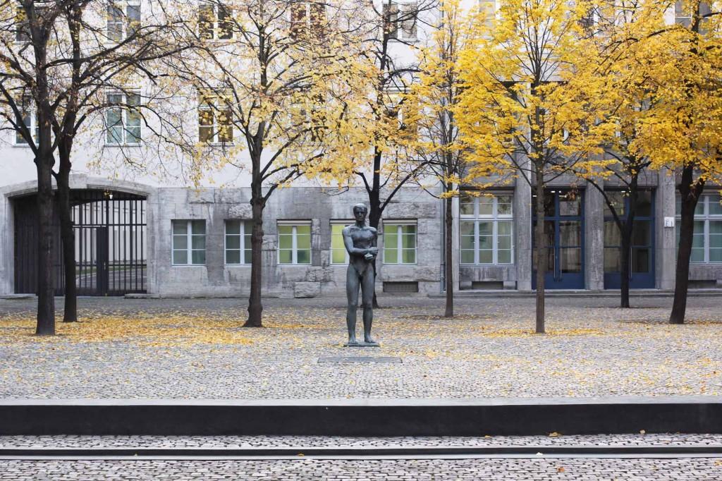 A statue of a naked man with bound hands, a memorial by Professor Richard Scheibe in the Courtyard of the German Resistance Memorial Centre (Gedenkstätte Deutscher Widerstand) in the Bendlerblock in Berlin