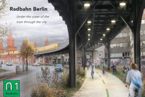 Radbahn Berlin – a covered cycle path under the tracks of the U1 and U2