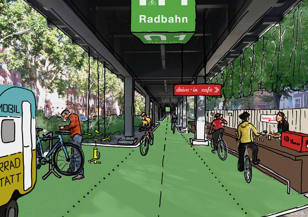 A mock up for the design for service workshops on the Radbahn Berlin, a a proposed 9km long cycle path under the elevated sections of the U1 underground line from Charlottenburg to Friedrichshain.